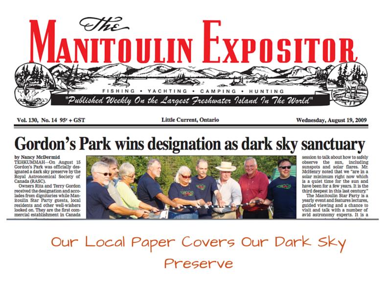 Manitoulin Island, Manitoulin Expositor, media, Dark Sky Preserve, Gordon's Park