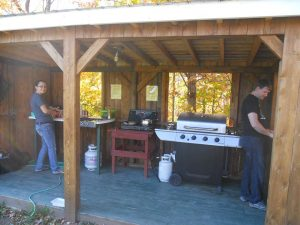 Our summer kitchen is one of our proudest amenities, It has a propane stove, sink, bbq and more.